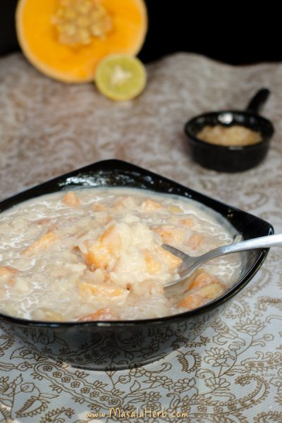 Rice Cantaloupe Yogurt Breakfast Bowl masalaherb.com
