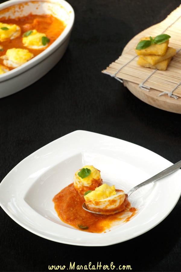 Stuffed Eggs Tomato Sauce Bake masalaherb.com