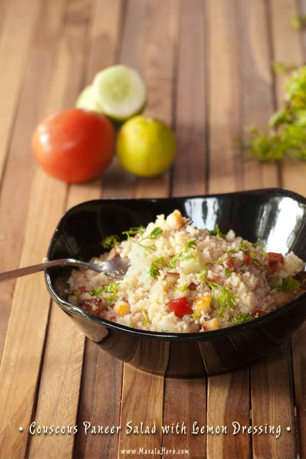Couscous Paneer Salad with Lemon Dressing www.masalaherb.com
