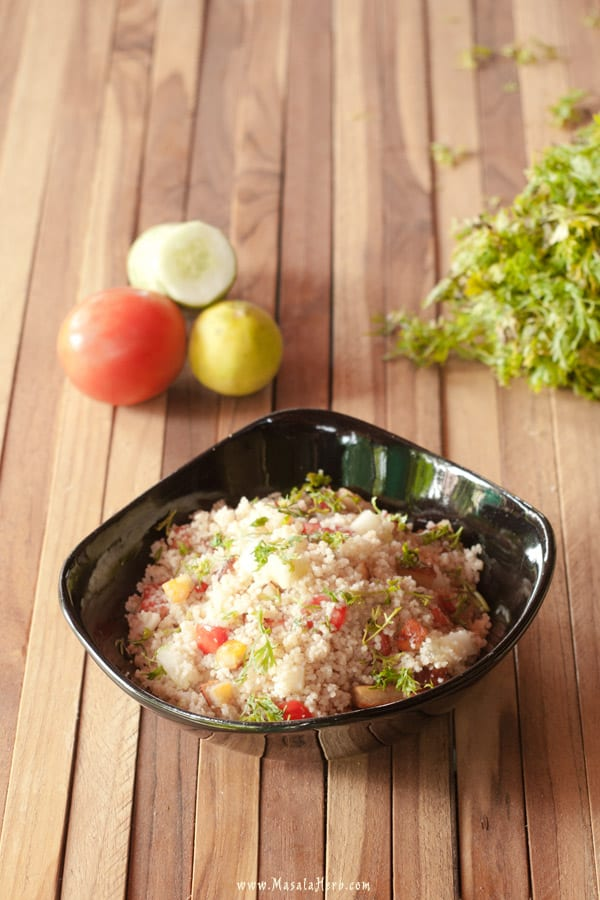 Couscous Paneer Salad with Lemon Dressing www.masalaherb.com