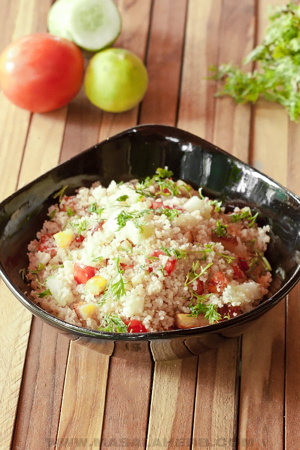 couscous prepared with tomato and cucumber