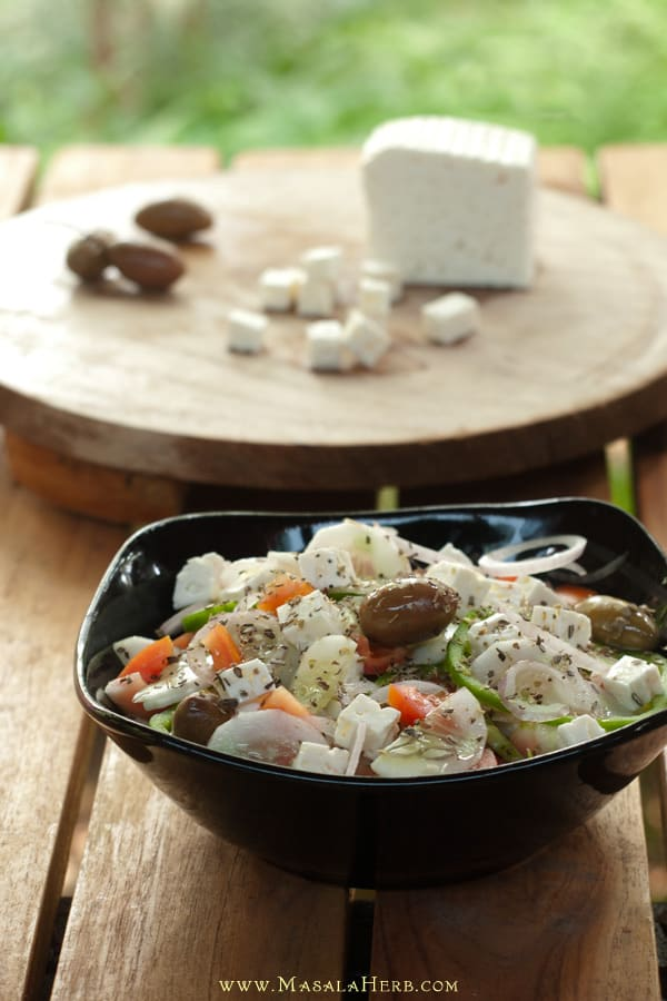 Greek Salad Recipe with Dressing {Vegetarian} www.MasalaHerb.com
