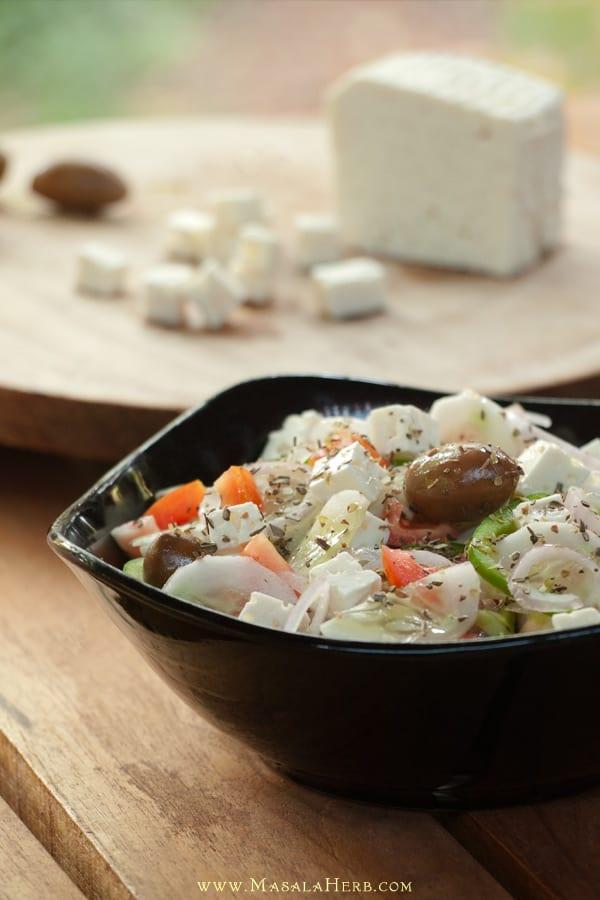 Greek Salad Recipe with Dressing {Vegetarian} www.MasalaHerb.com