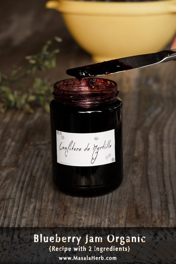 Blueberry Jam without Pectin [Recipe with only 2 Ingredients] made from scratch with collected wild blueberries. you can also make this blueberry jam with store bought blueberries. makes about 3 jars and stores well for a year if unopened and kept in a dry and dark place. Including blueberry jam label in English German and French www.masalaherb.com