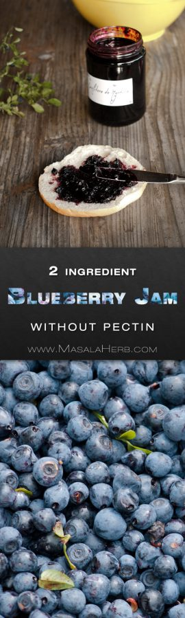 Blueberry Jam without Pectin [Recipe with only 2 Ingredients] made from scratch with collected wild blueberries. you can also make this blueberry jam with store bought blueberries. makes about 3 jars and stroes well for a year if unopened and kept in a dry and dark place. Including with blueberry jam label in english german and fresnch www.masalaherb.com