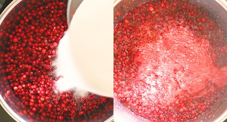stir sugar into lingonberries and heat up