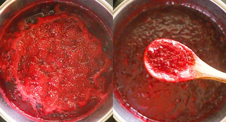 cook lingonberries down and blend