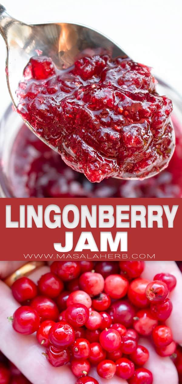 lingonberry jam recipe pin image