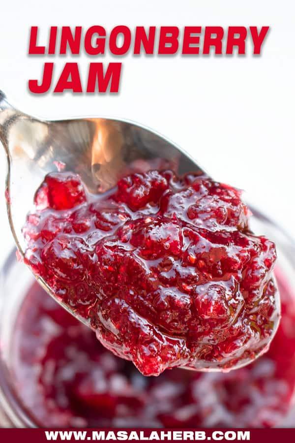 close up lingonberry jam