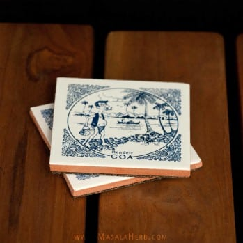 Goan Tile Coaster {Set of 2} Poder and Rendeir, the Goan breadman and toddy palm collector, traditional occupation India Goa www.masalaherb.com/shop
