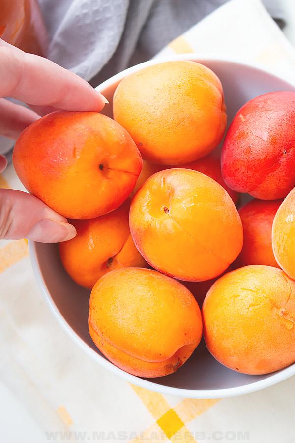fresh ripe apricot fruits
