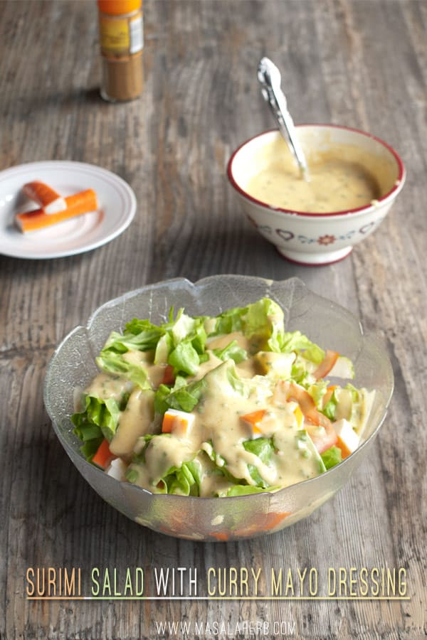 Surimi Salad with Curry Mayo Dressing - my favorite fresh Crab sticks salad recipe www.masalaherb.com