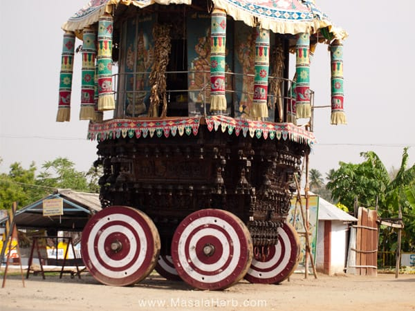 Traveling South India www.masalaherb.com strange religious cart Tamil Nadu India