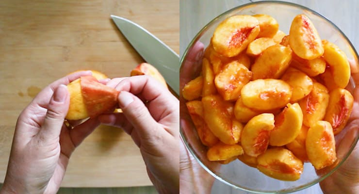 cut peaches and peel