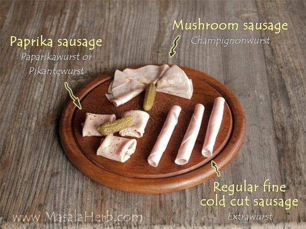 Extrawurst, Mushroom sausage, Champignonwurst, Paprikawurst, Paprika sausage, cold cuts, Cold Sliced Meat Varieties from Central Europe, Austria sausage www.masalaherb.com