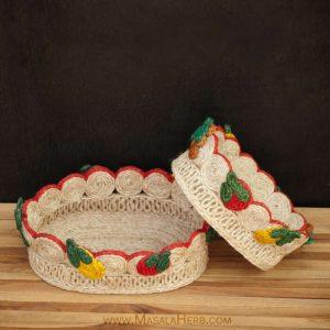 Handmade Banana Fiber Basket {Set of two}  www.masalaherb.com/shop