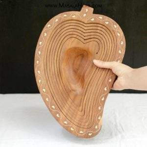 Handmade Collapsible Wooden Bowl - Mango Shape buy online in India