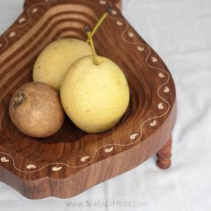 Handmade Collapsible Wooden Bowl - Papaya Shape buy in India