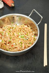 Chicken Chow Mein – Stir fried Noodles the Indo Chinese way www.masalaherb.com recipe