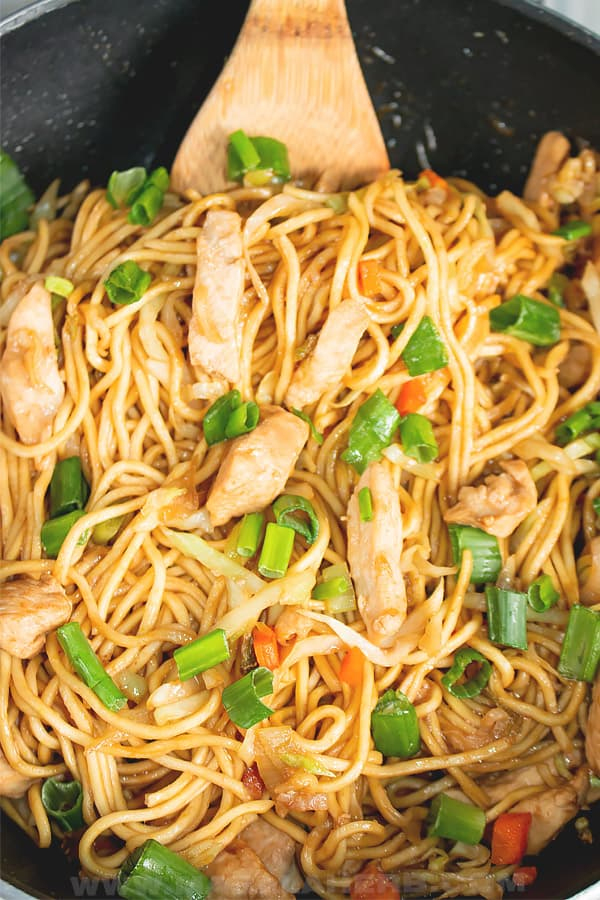 low mein noodles chicken stir fry