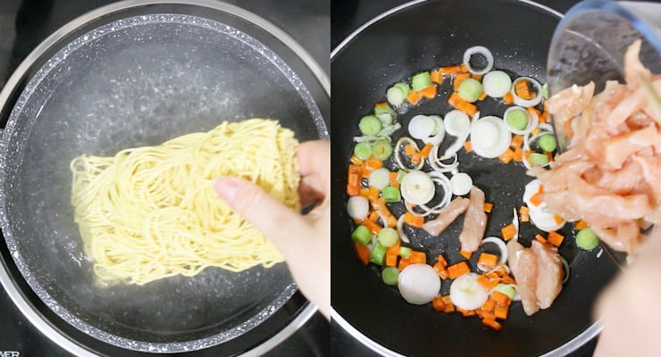 cook egg noodles and prepare chicken in pan