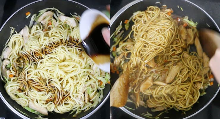 stir cooking Chinese noodles with stir fry sauce