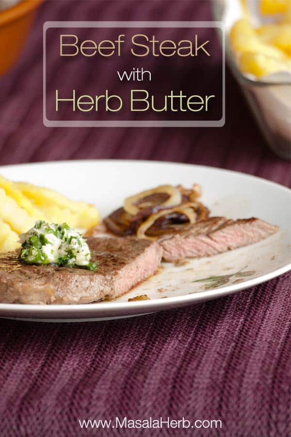 Scrumtpious Medium Pan Fried Beef Steak With Herb Butter Recipe Cooked In 10 Minutes