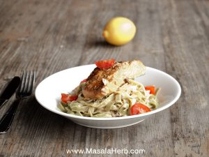 fresh salmon tagliatelle with white wine sauce masalaherb.com