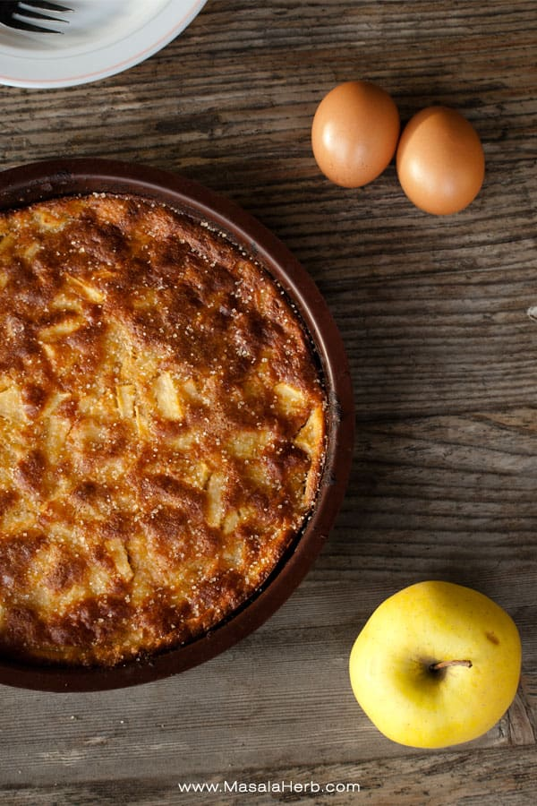 Moist french apple cake with Calvados. Prepare the cake in less then 10 minutes, easy and quick. www.masalaherb.com #recipe
