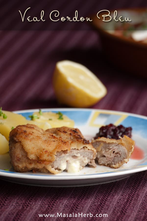 My favorite homemade Veal Cordon Bleu recipe from scratch with step by step pictures www.masalaherb.com #Recipe #french