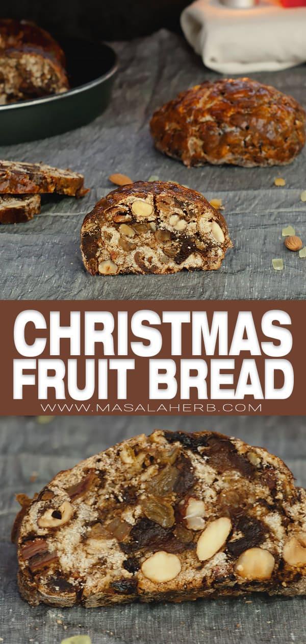 Kletzenbrot Recipe - Christmas Fruit Bread pin image