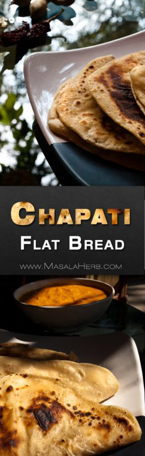 Chapati Recipe - How to make Chapati Dough with Ghee - Easy Indian Flat Bread. served with Indian thalis or standalone curries. can be perparred with ghee (clarified butter) or without. It's an Indian staple! www.MasalaHerb.com