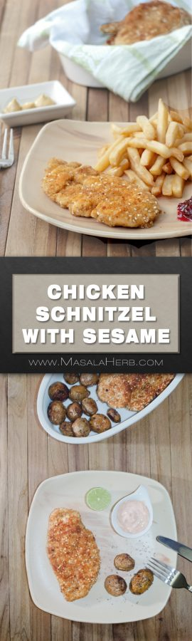 Easy Chicken Schnitzel Recipe - How to make Israeli Schnitzel [+Video] with Sesame enriched Chicken Schnitzel the middle eastern way. Learn about my schnitzel making tips and read more here www.MasalaHerb.com