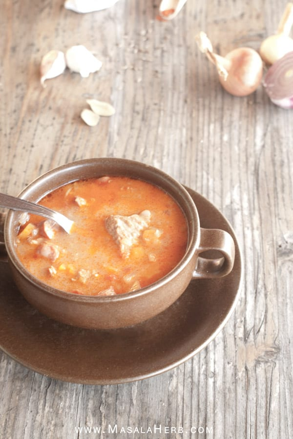 Easy Hungarian Goulash Soup Recipe {Nut-free & Gluten-free} www,masalaherb.com