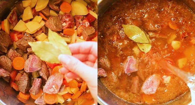 cook goulash, season
