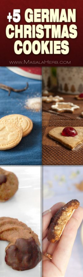 5+ German Christmas Cookies you need to try! different types of german christmas cookies. does not include austrian and swiss cookies www.MasalaHerb.com #cookies #german #christmas #masalaherb