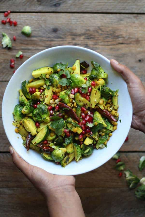 curried-crisp-pan-roasted-brussels-sprouts-with-pomegranate-and-peanuts-foodfashionparty