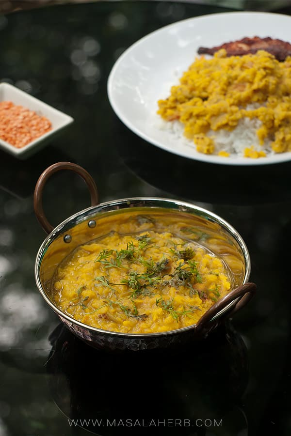 cooked red lentils in a small pot
