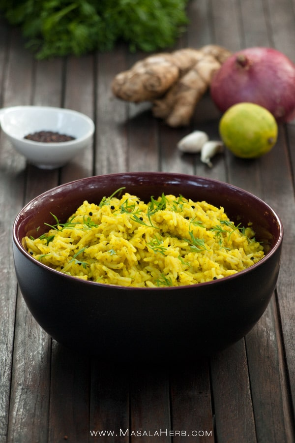 Aromatic Cilantro Lime Rice Recipe [Easy], How to make fresh Coriander lemon Rice from scratch with the step by step recipe instructions and including pictures www.MasalaHerb.com #rice #lime #cilantro #masalaherb