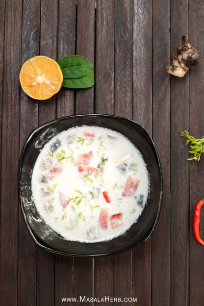 Tom Kha Gai - Easy Thai Coconut Chicken Soup Recipe www.MasalaHerb.com