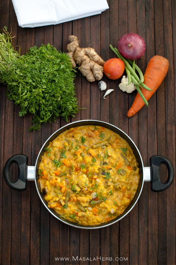 Vegetable Korma Recipe - Simple creamy mix veg kurma curry {without coconut} www.MasalaHerb.com