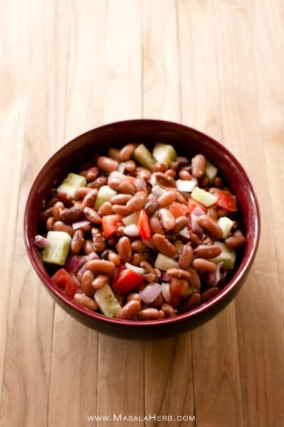 Kidney Bean Salad with Vinaigrette Dressing- How to make Kidney Bean Salad - Rajma Salad www.MasalaHerb.com