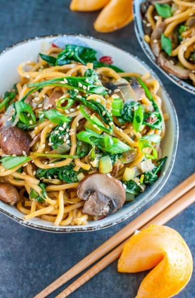 12 fantastic Stir-Fry Asian Noodle Dishes you need to try! Collection at MasalaHerb.com ---Spinach Mushroom Leek Long Life Noodles peasandcrayons.com