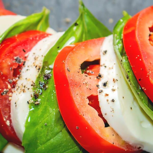 tomato, mozzarella basil