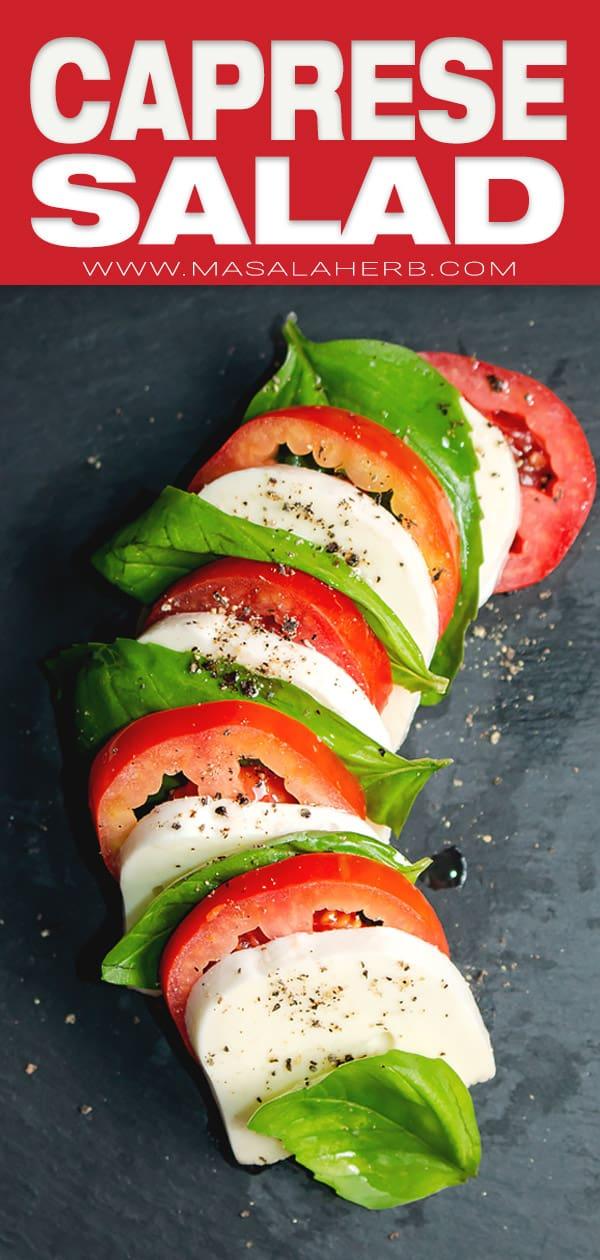 Mediterranean fresh caprese tomato bail salad
