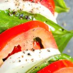 quick and easy lunch salad with tomato mozzarella and basil