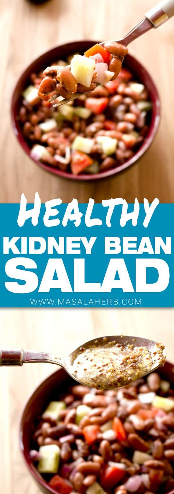 Kidney Bean Salad with Vinaigrette Dressing- How to make Kidney Bean Salad - Rajma Salad www.MasalaHerb.com #salad #beans #vinaigrette #masalaherb