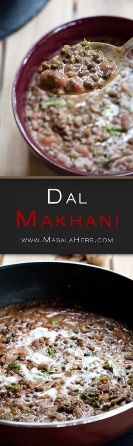 Dal Makhani Recipe - How to make Dal Makhani Curry + Video - Spiced Indian Butter Urad Dal Black Lentil Gravy www.MasalaHerb.com