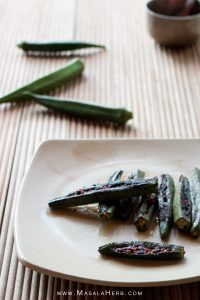 Fried Stuffed Okra with Goan Recheado Paste - How to make stuffed Okra [+Video] - Ladyfinger/Bhende stuffed with spicy red Vinegar Masala Paste Indian Recipe. Serve with Goan fish curry rice or enjoy as a snack. Vegan and healthy - MasalaHerb.com