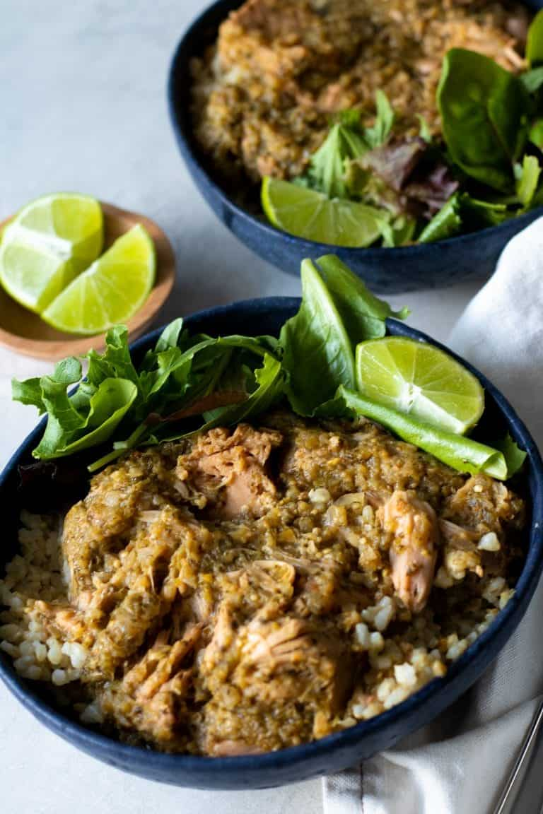 Chili verde jackfruit with cilantro lime brown rice